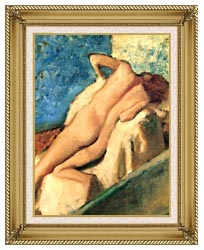 Edgar Degas Nude Woman After The Bath canvas with gallery gold wood frame