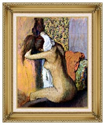 Edgar Degas After The Bath Woman Drying Her Neck canvas with gallery gold wood frame