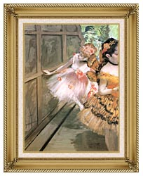 Edgar Degas Impressionist Dancers In The Wings canvas with gallery gold wood frame