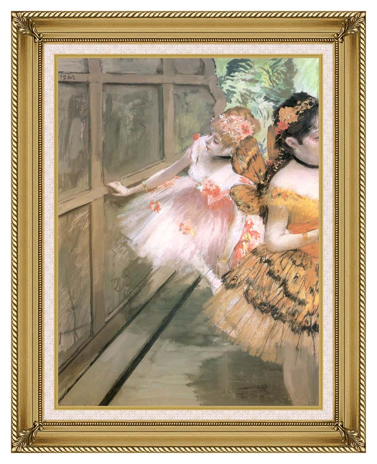Edgar Degas Impressionist Dancers in the Wings with Gallery Gold Frame w/Liner