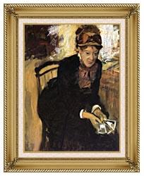 Edgar Degas Miss Cassatt Holding Cards canvas with gallery gold wood frame