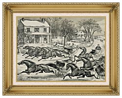 Currier And Ives A Brush For The Lead   New York Flyers On The Snow canvas with gallery gold wood frame