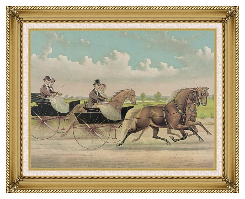 Currier and Ives A Brush with Webster Carts with Gallery Gold Frame w/Liner