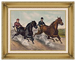 Currier And Ives A Champion Race canvas with gallery gold wood frame