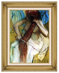 Edgar Degas Nude Woman Combing Her Hair canvas with gallery gold wood frame