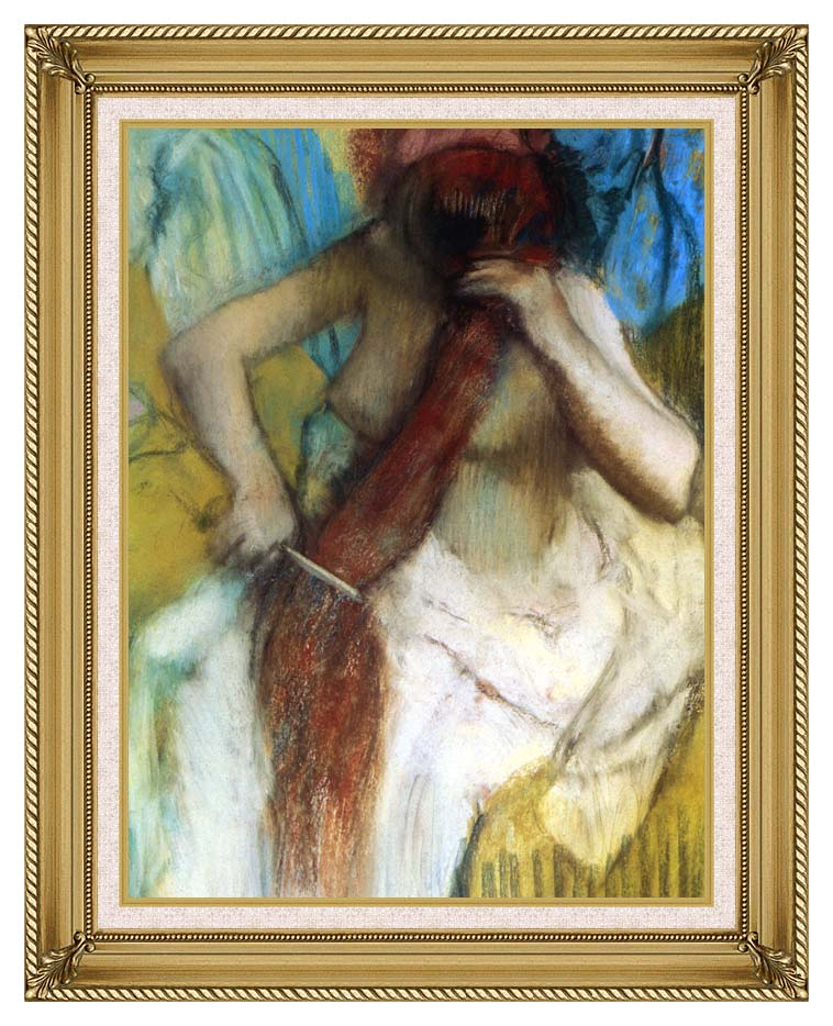 Edgar Degas Nude Woman Combing Her Hair with Gallery Gold Frame w/Liner