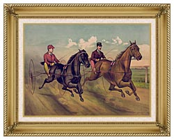Currier And Ives A Champion Horse Race canvas with gallery gold wood frame