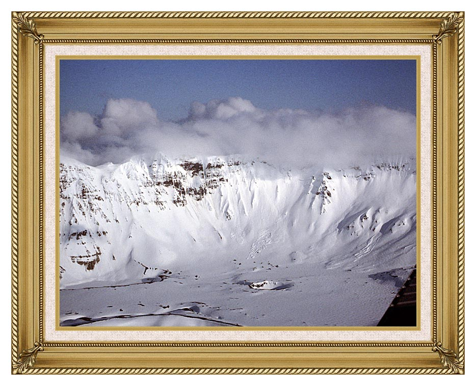 U S Fish and Wildlife Service Aniakchak Caldera with Gallery Gold Frame w/Liner