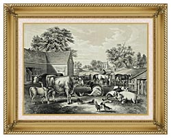 Currier And Ives American Farm Yard   Evening canvas with gallery gold wood frame