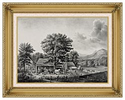 Currier And Ives Autumn In New England   Cider Making canvas with gallery gold wood frame