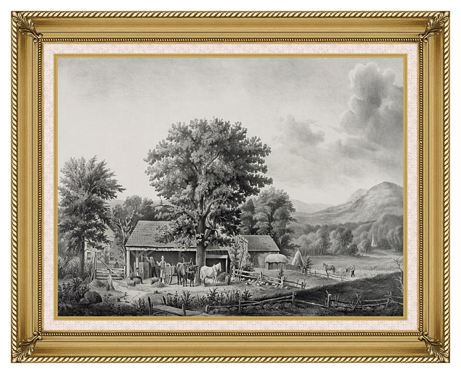Currier and Ives Autumn in New England - Cider Making with Gallery Gold Frame w/Liner