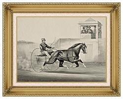 Currier And Ives Celebrated Horse Dexter The King Of The World canvas with gallery gold wood frame