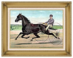 Currier And Ives Celebrated Trotter Jay Eye See canvas with gallery gold wood frame