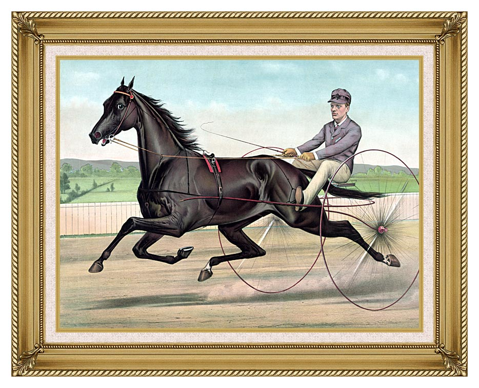 Currier and Ives Celebrated Trotter Jay Eye See with Gallery Gold Frame w/Liner