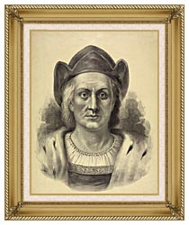 Currier And Ives Christopher Columbus Discoverer Of America canvas with gallery gold wood frame