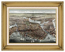 Currier And Ives City Of Boston canvas with gallery gold wood frame