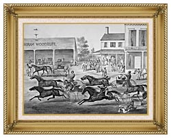 Currier And Ives Coming From The Trot   Sports On The Home Stretch canvas with gallery gold wood frame