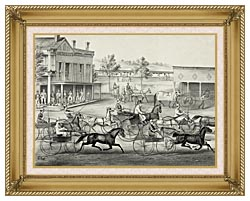 Currier And Ives Going To The Trot   A Good Day And Good Track canvas with gallery gold wood frame