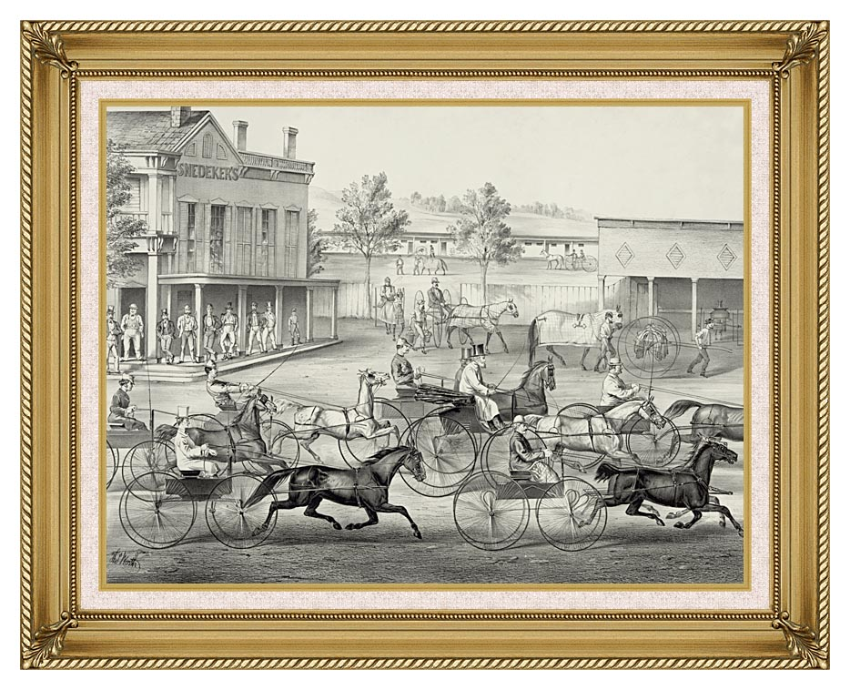 Currier and Ives Going to the Trot - A Good Day and Good Track with Gallery Gold Frame w/Liner
