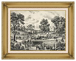 Currier And Ives Grand Drive Central Park NY canvas with gallery gold wood frame