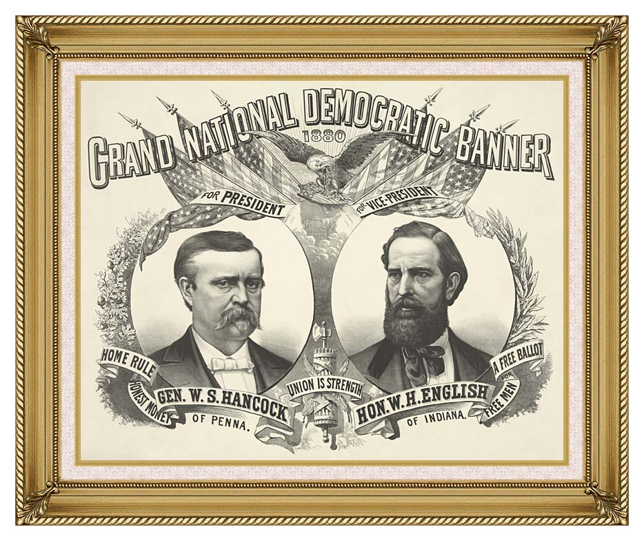 Currier and Ives Grand National Democratic Banner 1880 with Gallery Gold Frame w/Liner