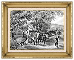 Currier And Ives Haying Time The First Load canvas with gallery gold wood frame