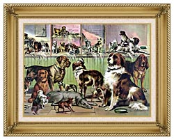 Currier And Ives House Kennel And Field canvas with gallery gold wood frame