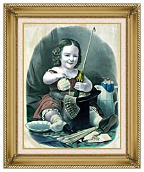 Currier And Ives Little Girl Into Mischief canvas with gallery gold wood frame