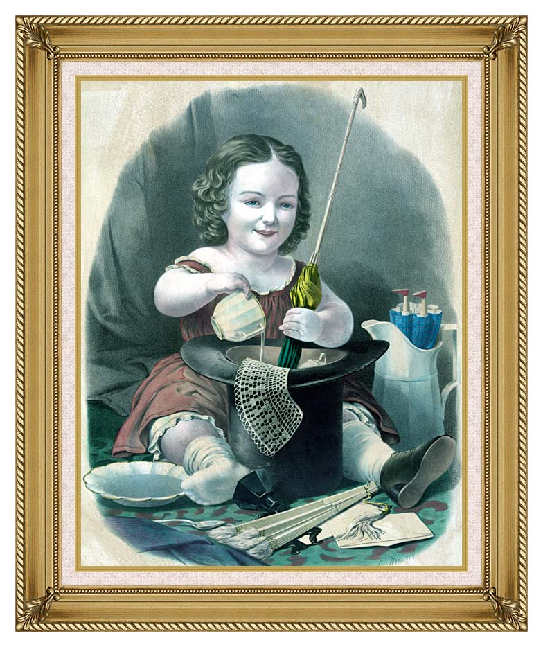 Currier and Ives Little Girl Into Mischief with Gallery Gold Frame w/Liner