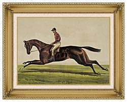 Currier And Ives Iroquois Thoroughbred Horse canvas with gallery gold wood frame