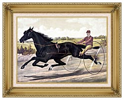 Currier And Ives Jay Eye See Trotter Horse Racing canvas with gallery gold wood frame