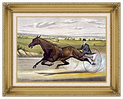 Currier And Ives Maud S Trotter Race Horse canvas with gallery gold wood frame