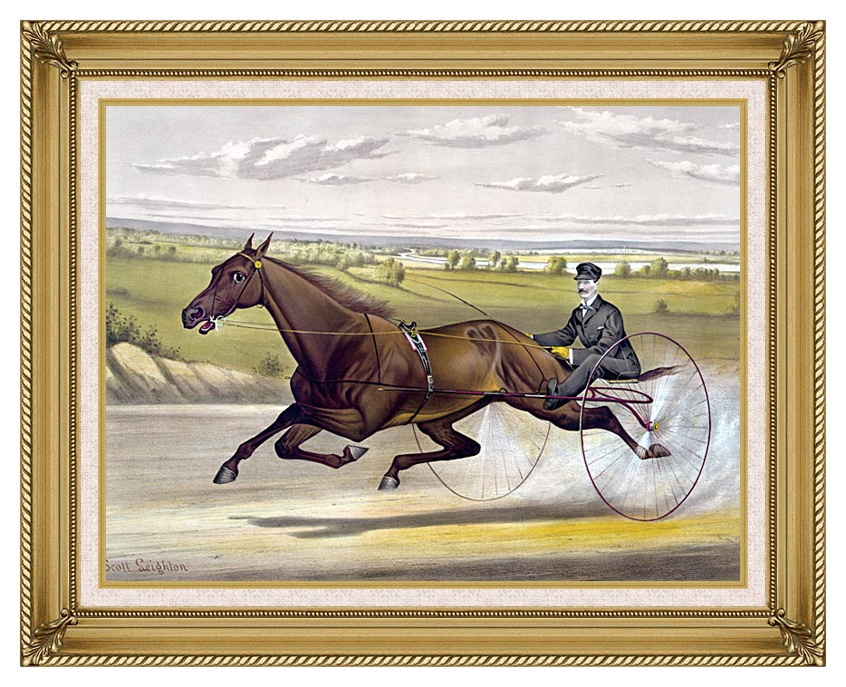 Currier and Ives Maud S Trotter Race Horse with Gallery Gold Frame w/Liner