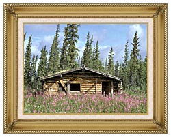 U S Fish And Wildlife Service Canyon Village Log Cabin canvas with gallery gold wood frame