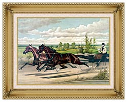 Currier And Ives Mill Boy And Blondine Harness Racers canvas with gallery gold wood frame