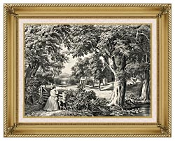 Currier And Ives My Cottage Home canvas with gallery gold wood frame