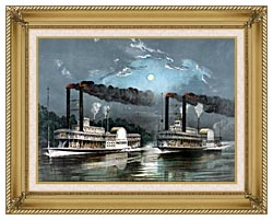 Currier And Ives A Midnight Race On The Mississippi River canvas with gallery gold wood frame