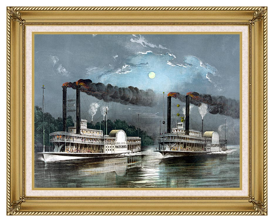 Currier and Ives A Midnight Race on the Mississippi River with Gallery Gold Frame w/Liner