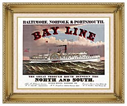 Currier And Ives Bay Line Steamship canvas with gallery gold wood frame
