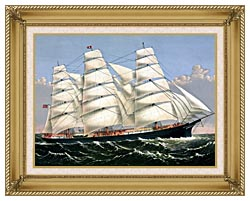 Currier And Ives Clipper Ship Three Brothers canvas with gallery gold wood frame
