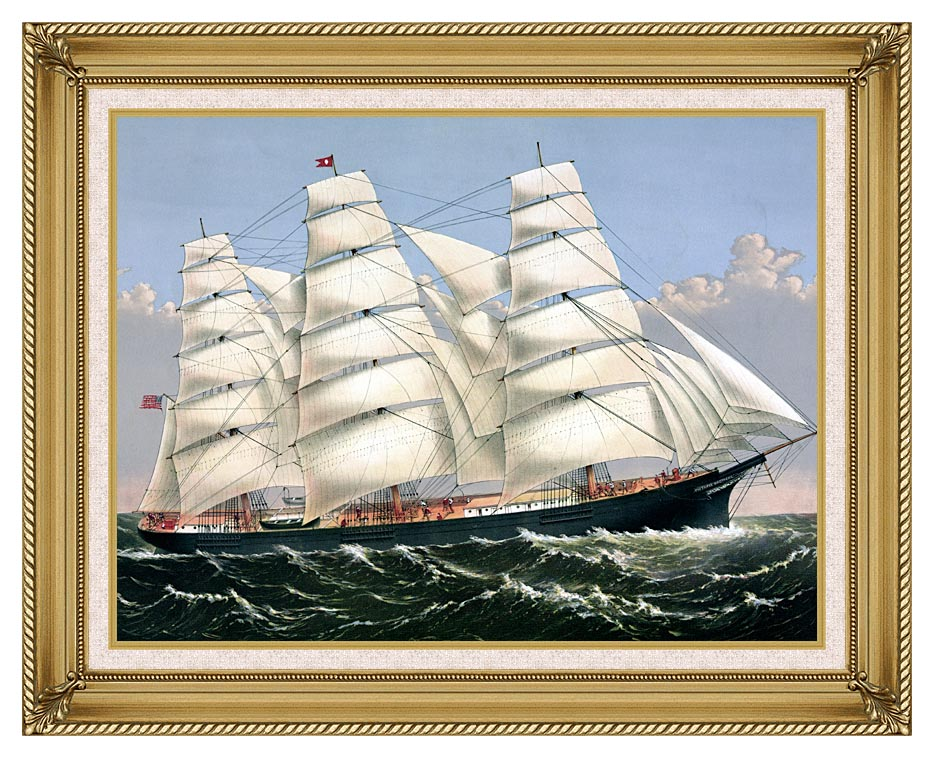Currier and Ives Clipper Ship Three Brothers with Gallery Gold Frame w/Liner