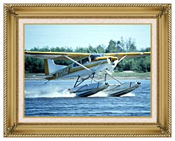 U S Fish And Wildlife Service Float Plane In Water canvas with gallery gold wood frame