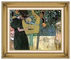 Gustav Klimt Music I canvas with gallery gold wood frame