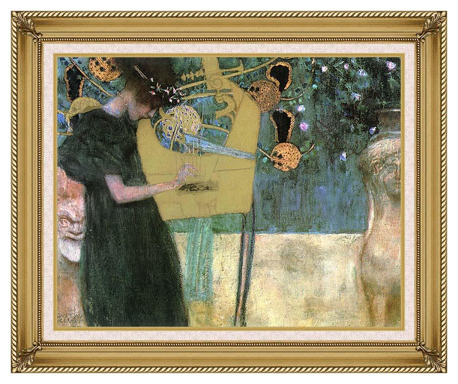 Gustav Klimt Music I with Gallery Gold Frame w/Liner