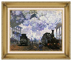 Claude Monet Gare Saint Lazare Arrival Of A Train canvas with gallery gold wood frame