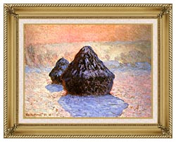 Claude Monet Haystacks Snow Effect Winter canvas with gallery gold wood frame