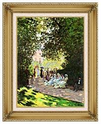 Claude Monet Parisians Enjoying The Parc Monceau Paris canvas with gallery gold wood frame