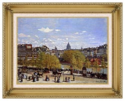 Claude Monet Quai Du Louvre Paris canvas with gallery gold wood frame