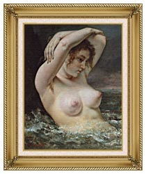 Gustave Courbet Woman In The Waves canvas with gallery gold wood frame