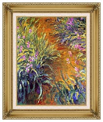 Claude Monet The Path Through The Irises canvas with gallery gold wood frame